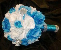 17 Piece Malibu Blue Wedding Set by SilkFlowersByJean