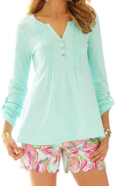 Lilly Pulitzer Dorothy Top in Poolside Blue- easy, throw on top