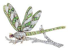 Diamond Pin/Brooch, Old European Cut, set in Platinum/18kt