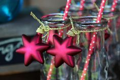 Milk bottles with Christmas decoration