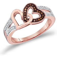 Women's #Fashion #Jewelry: Diamonds and Gemstones:  Brown Chocolate Diamond #Heart Ring Fashion Band 10k Rose Gold (0.15 Ct.tw): Jewel Tie: #Rings