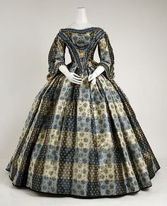Plaid silk and cotton dinner dress, British, 1855-59.