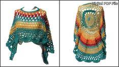 Circular Asymmetric Rainbow Poncho Shawl Crochet Pattern PDF