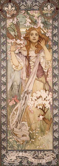 L'actrice Maude Adams dans le rôle de Jeanne d'Arc (Alphonse Mucha)