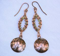 Leaf Etched Copper Artisan Earrings with Wire Wrapped Autumn Jasper