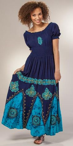 Maxi Dress - Elasticized Waist Short Sleeve One Size in Himalayan Navy