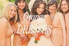 Orange bridesmaid dresses and flowers. Orange Wedding Colors, Orange Bridesmaid Dresses, Orange Dress, Wedding Color Schemes, Dream Wedding, Marriage, Wedding Ideas, Flowers, Inspiration