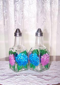 Oil Vinegar Set Cruet Bottles Hand Painted by BonnysBoutique, $15.99