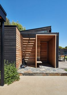 External Charred timber is U. We only use Australian hardwoods, all of which attract a BAL 29 fire rating. Timber Cladding, Wall Cladding, Cladding Ideas, Modern Barn House, Barn House Plans, Timber Walls, Timber House, Australian Homes, Australian Sheds
