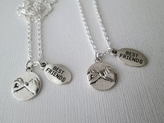 2 Pinky Promise, Best Friends Necklaces Necklace measures 18 inches long Comes in OUR SIGNATUE HAZEL SARAI GIFT BAG!/ & Packaged for safe transit! Custom Orders Welcomed! If you see a listing, and would like a variation, Please Contact me