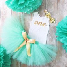 Mint and Gold Birthday Dress Tutu Outfit for Baby Girls, Toddler Girls, 1st Birthday Dress, Cake Smash Tutus, Cakesmash by StrawberrieRose on Etsy https://www.etsy.com/listing/236589240/mint-and-gold-birthday-dress-tutu-outfit