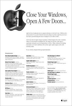 "Apple says, ""Close your windows, open a few doors..."""