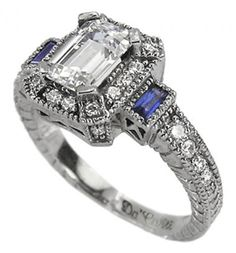 Antique Engagement Rings Emerald Cut Diamond Rings