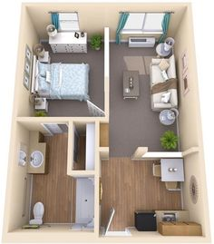 Architektur * Typical One Bedroom Apartment - Assisted Living Contra Costa 7 Attributes of a Succ Sims House Plans, House Layout Plans, House Layouts, Small House Plans, House Floor Plans, Studio Apartment Floor Plans, Studio Apartment Layout, Small Apartment Design, Small Apartments