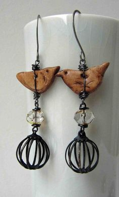polymer clay bird earrings