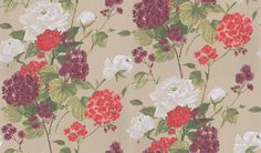 Penrose (NCW4062-04) - Nina Campbell Wallpapers - Bold bouquets of cut garden flowers. Showing in Red, white and mulberry on a beige background - other colour ways available. Please request a sample for true colour match.