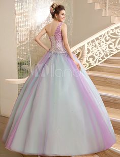 Vestido para quinceañeras de organza con escote a un solo hombro y pedrería - Milanoo.com Ball Gown Dresses, 15 Dresses, I Dress, Party Dress, Fashion Dresses, Formal Dresses, Dress Outfits, Junior Prom Dresses, Evening Dresses For Weddings