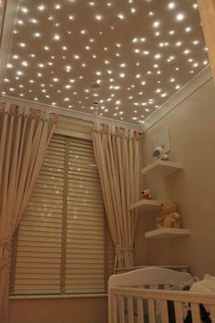 Star Ceiling - bad luck to the baby - I want this for my room! Every room in my house actually! My New Room, My Room, Star Lights On Ceiling, Ceiling Stars, Glitter Ceiling, Dark Ceiling, Purple Ceiling, Decorative Ceiling Lights, Nursery Decor