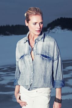 Cover shoot for Henne Magazine with Synnøve Macody Lund. Denim Button Up, Button Up Shirts, I Love Fashion, Lund, Beautiful Actresses, Portraits, Tops, Closet, Women