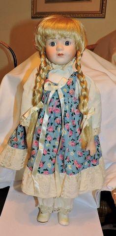 "2187~Vintage 16"" Blonde Braided Hair Blue Eyed Porcelain Softbody Doll **"