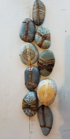 Visit WaterWorks Gallery in Friday Harbor WA to view Functional Arts by Northwest Artist, Del Webber. See the latest artwork available! Stone Crafts, Rock Crafts, Fun Crafts, Diy And Crafts, Arts And Crafts, Stone Wrapping, Nature Crafts, Wire Art, Pebble Art