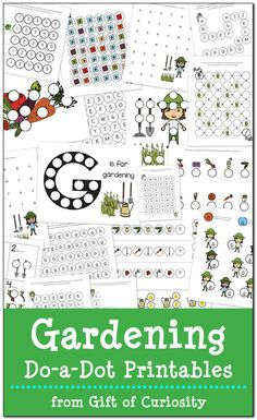 Free Gardening Do-a-Dot Printables: 19 pages of gardening do-a-dot worksheets for kids ages 2-6. What a great pack for spring! || Gift of Curiosity