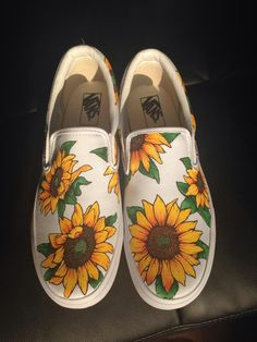 Custom Painted sunflower vans