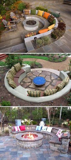 Circular patio seating with fire pit. - Circular patio seating with fire pit. Informations About Circular patio seating with fire pit. Fire Pit Backyard, Backyard Patio, Backyard Landscaping, Pergola Patio, Sloped Backyard, Garden Fire Pit, Flagstone Patio, Landscaping Ideas, Patio Fire Pits