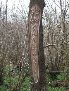"Druids Trees:  ""Robin Hill #Green #Man,"" by environmental artist Paul Sivell. He uses condemned, dead, or dying trees for his sculptures, effectively giving them a new life."