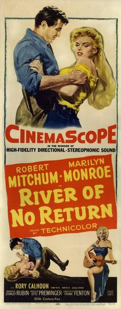 """River of No Return"" - Marilyn Monroe and Robert Mitchum. US Insert Movie Poster, 1954."