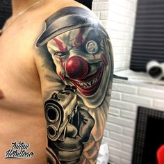 Evil clown tattoos reflect the darker side of human nature. Evil Clown tattoos that you can filter by style, body part and size, and order by date or score. Gangsta Tattoos, Dope Tattoos, Badass Tattoos, Leg Tattoos, Tattos, Chicano Tattoos Sleeve, Best Sleeve Tattoos, Evil Clowns, Scary Clowns