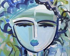 """Abstract Portrait original painting on canvas """"Girl Blue 18l 16"""" 11x14 painting on Linen"""