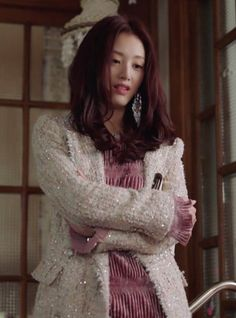 The always bold and crazy Veronica Park (Kim Jae-kyung) looked fabulous in this off-shoulder dress from Stylenanda in episode 7 of The Secret Life of My Secretary. Korean Drama Movies, Korean Dramas, Secret Life, The Secret, Secretary Outfits, Kdrama, Tweed Coat, Girl Bands, Korean Actresses