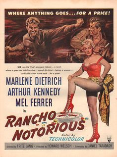 Directed by Fritz Lang. With Marlene Dietrich, Arthur Kennedy, Mel Ferrer, Gloria Henry. After the murder of his fiancée, a Wyoming ranch hand sets out to find her killer. Old Movies, Vintage Movies, Vintage Ads, Vintage Prints, Jack Elam, Katharine Hepburn, Classic Movie Posters, Classic Movies, Lauren Bacall