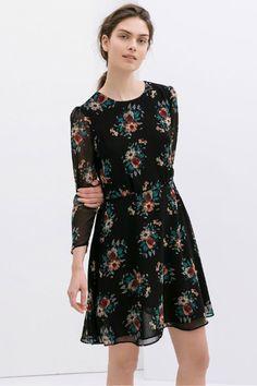 Women Black Chiffon Vintage O-neck Long Sleeve Floral Shift Dress