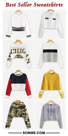 Best seller sweatshirts romwe women style in 2019 стильная о Girls Fashion Clothes, Teen Fashion Outfits, Outfits For Teens, Girl Fashion, Summer Outfits, Crop Top Outfits, Cute Casual Outfits, Stylish Outfits, Cute Middle School Outfits