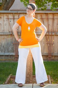 Orange tee, yellow layering tank top, wide leg white linen pants, Dansko sandals, DIY dip-dye lace necklace, white seed-bead hoop earrings.