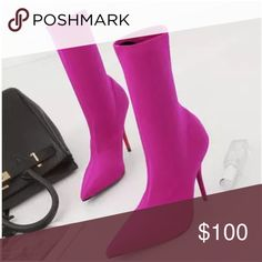 New In ! Trendy Boots TRENDY !! Really cute !! Mid calf boots! The color is gorgeous !! Fits 7. They are comfy to walk, heel is not very high. Stretch  fabric, thin heel, upper material is  silk, pointed toe ! Super trendy! Shoes Ankle Boots & Booties
