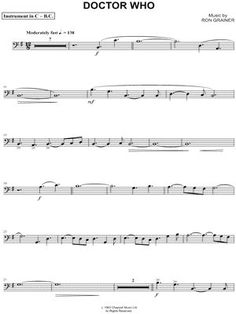 """Doctor Who Theme - Bass Clef Instrument"" from Doctor Who Sheet Music (Cello, Trombone, Bassoon, Baritone Horn or Double Bass) - Download & Print"