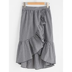 SheIn(sheinside) Band Waist Asymmetric Ruffle Trim Gingham Skirt ($17) ❤ liked on Polyvore featuring skirts, black and white, tiered ruffle maxi skirt, long plaid skirt, long a line skirt, black and white maxi skirt and long summer skirts