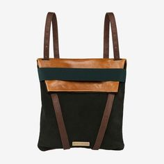 b5a4e996a23 Backpack in real leather. Dark green suede in one side. Back in camel  leather