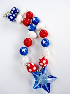 4th of July Chunky Bead Necklace  by MarcelinesWonderland on Etsy, $15.00