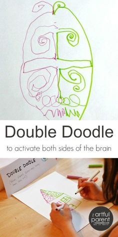 Art Double doodle art is fun, relaxing, and a great way to exercise the brain as it uses both sides of the brain simultaneously.Double doodle art is fun, relaxing, and a great way to exercise the brain as it uses both sides of the brain simultaneously. Double Doodle, Ecole Art, Preschool Art, Art Activities, Movement Activities, Therapy Activities, Physical Activities, Art Classroom, Teaching Art