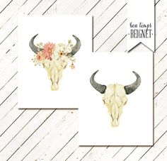 """Printable watercolor """"His & Hers"""" bull cow skulls with flower crown and border - $10 instant download - Bon Temps Beignet"""