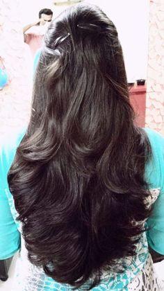 Haircuts Straight Hair, Long Hair Cuts, Long Black Hair, Long Layered Hair, Hairstyles Haircuts, Cool Hairstyles, Wedding Hairstyles, Hair Goals Color, Silky Hair