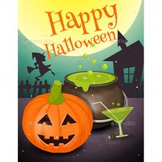 Halloween Card in Retro Style Poster Pumpkin and Green Potion in Night. Vintage Design. Vector Illustration. File contains JPEG a