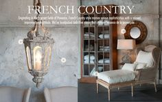 French Country and Shabby Chic; French country style furnishings, also known as French Provencal style interiors, take their inspiration from the lavender and sunny yellow sunflower filled fields of Provence and the country homes of Parisians which are found throughout the countryside.    This particular French country style shares some elements with Tuscan style, notably a color wheel which includes olive green, sunny yellow, deep red, soft ocean tones, and the charm of an old painted…