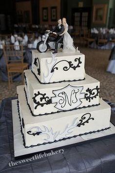 Black and white harley wedding cake