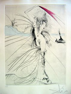 This drawing is kinda mysterious, you can't quite make out all of the different things that is going on this picture. Especially because the woman seem to be partly something else? Something supernatural? I like this element in the drawing, especially because the style itself is very simple.   (Salvador Dali, Venus in Furs)