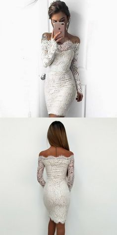 off the shoulder bodycon homecoming dresses, long sleeves lace tight short homecoming dresses, simple short prom dress with sleeves
